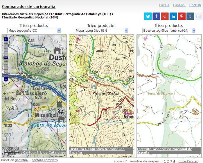 Comparador de cartografia ICC-IGN. Àrea de Calonge de Segarra.