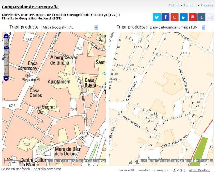Comparador de cartografia ICC-IGN. Àrea del centre de Girona.
