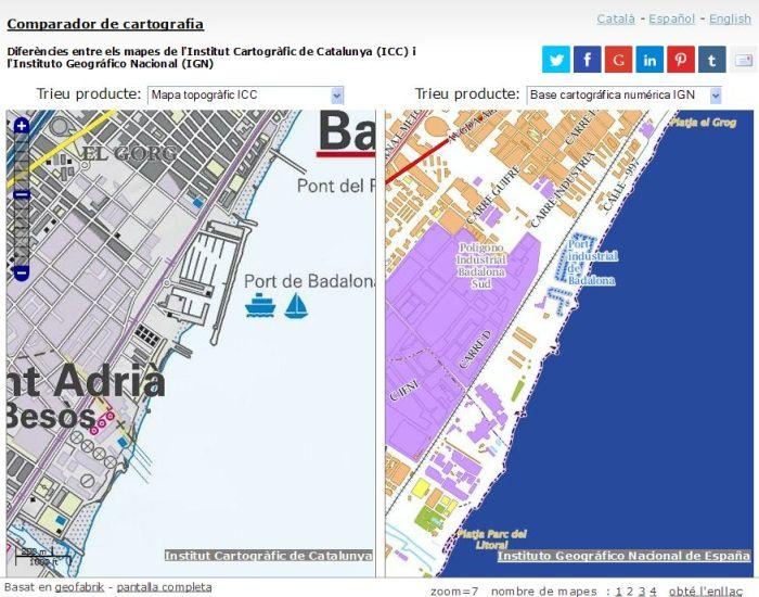 Comparador de cartografia ICC-IGN. Àrea del port de Badalona.