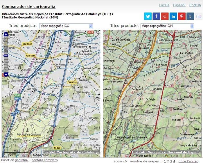 Comparador de cartografia ICC-IGN. Àrea de Riudellots de la Selva.
