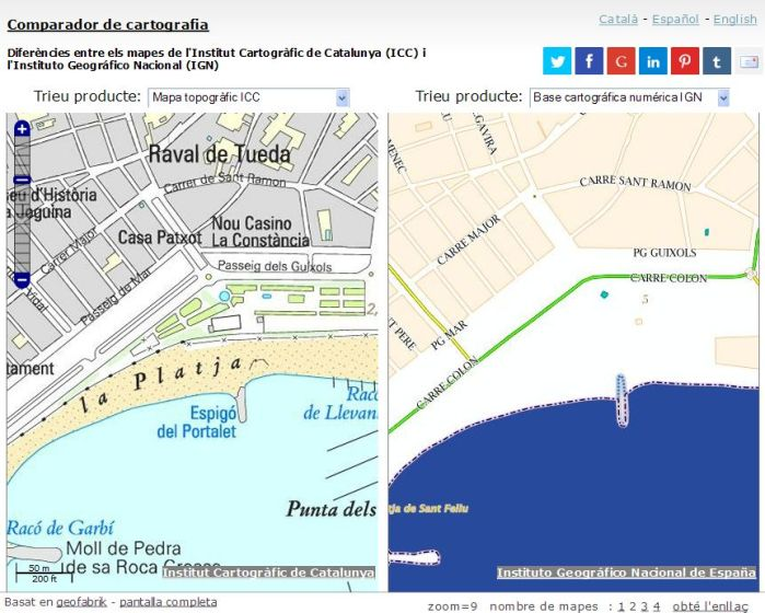 Comparador de cartografia ICC-IGN. Àrea del port de Sant Feliu de Guíxols.