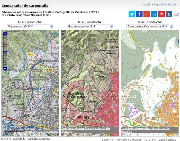 Comparador de cartografia ICC-IGN. Àrea de Terrassa.
